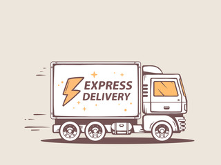 Vector illustration of truck free express delivery to customer.