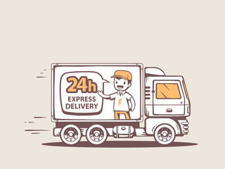 Vector illustration of truck express delivery to customer.