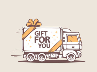 Vector illustration of truck free and fast delivering gift for c
