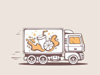 Vector illustration of truck free and fast delivering fresh frui