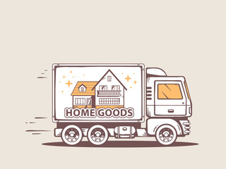 Vector illustration of truck free and fast home delivery of good