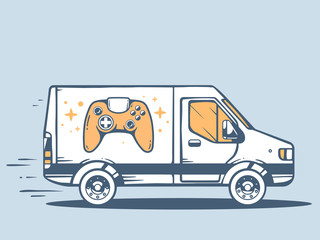 Vector illustration of van free and fast delivering joystick to