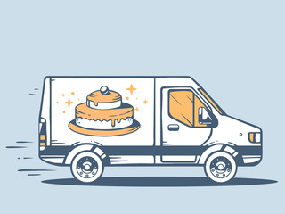 Vector illustration of van free and fast delivering cake to cust