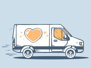 Vector illustration of van free and fast delivering heart to cus