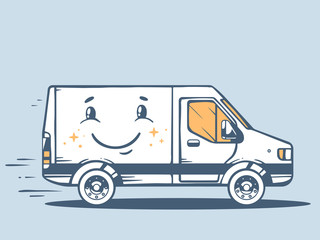 Vector illustration of van free and fast delivering smile to cus