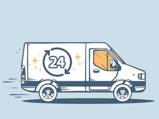 Vector illustration of van free and fast delivering 24 h to cust