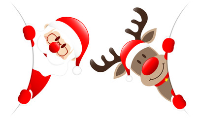 Rudolph & Santa Diagonal Round Banner