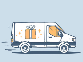 Vector illustration of van free and fast delivering gift box to