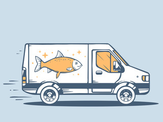 Vector illustration of van free and fast delivering fish to cust