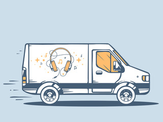 Vector illustration of van free and fast delivering headphones t