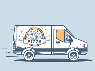 Vector illustration of van free and fast delivering pizza to cus