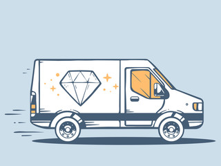 Vector illustration of van free and fast delivering diamond to c