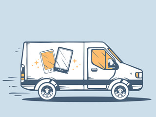 Vector illustration of van free and fast delivering phone to cus