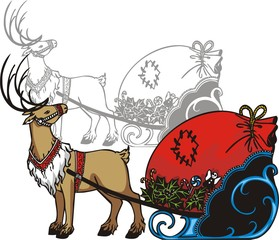 Sleigh and reindeer - vinyl-ready vector illustration.