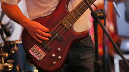 Man Playing Guitar at Concert. Close-up