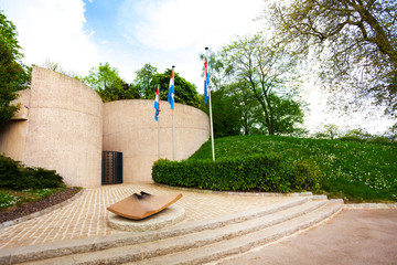 View of eternal flame memorial in Luxembourg
