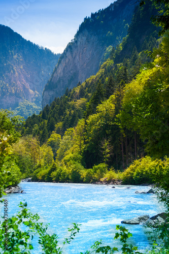 Beautiful river in the forest near Alps