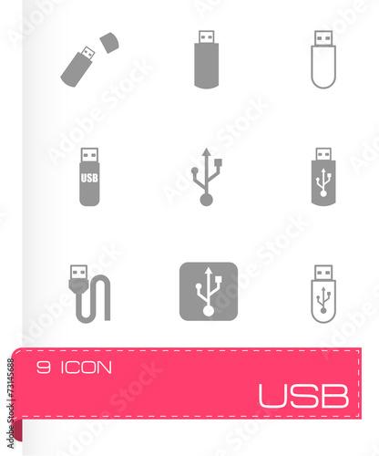 Vector black usb icon set - 73145688