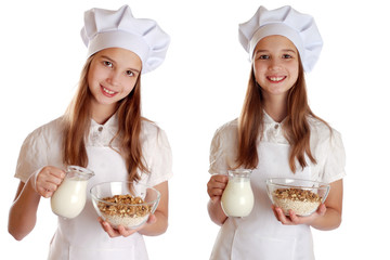Girl with a jug of milk and cereal on isolated background