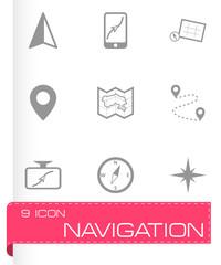 Vector black navigation icons set