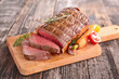 canvas print picture - roast beef on board