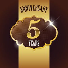 5 Years Anniversary, Golden Design Template / Background / Seal