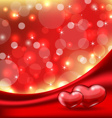 Valentine's card with beautiful hearts