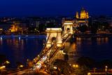 Night traffic of cars on Secheni Bridge in Budapest