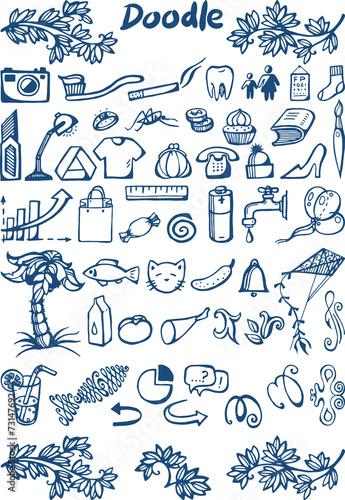 set 2 of doodle icons on various topics © nadiiaz