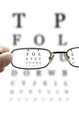 eye test through glasses vertical