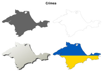 Crimea blank outline map set - Ukrainian version