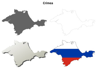 Crimea blank outline map set - Russian version