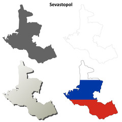 Sevastopol blank outline map set - Russian version