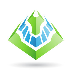 Green and Blue Abstract Icon