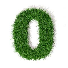 0 zero numero in 3d erba verde, isolato su sfondo bianco