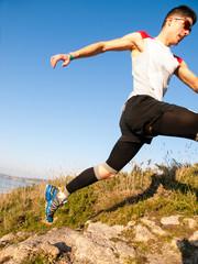 Man practicing trail running