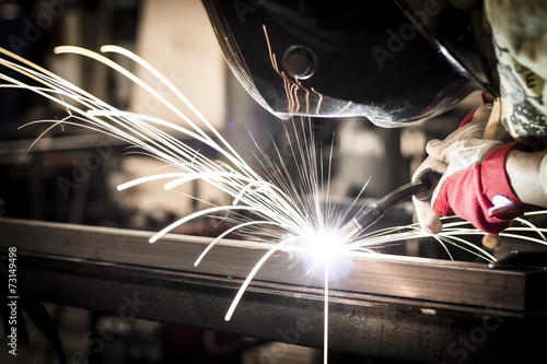 Welding of steel structures.