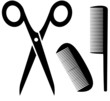 barber tools icon with scissors and comb