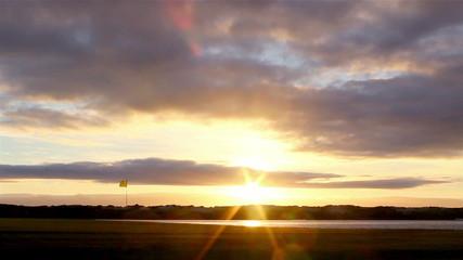 Algarve golf course scenery at Ria Formosa. Portugal