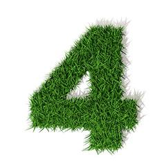 4, quattro numero 3d erba verde, isolato su sfondo bianco