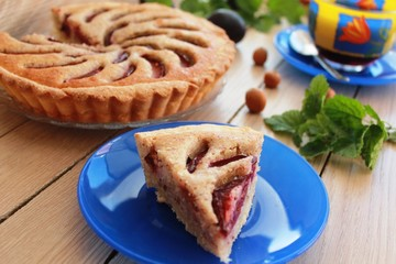tart with almond cream and plums