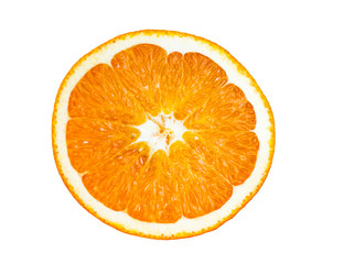 Fresh sliced orange fruit isolation on white