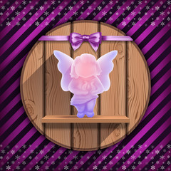 Christmas angel on the wooden board
