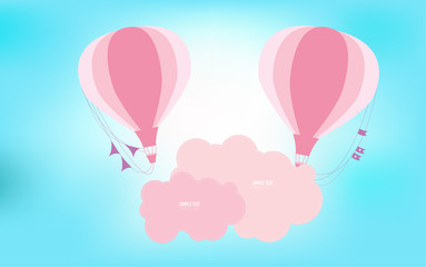 Balloon fly to the sky in many color background