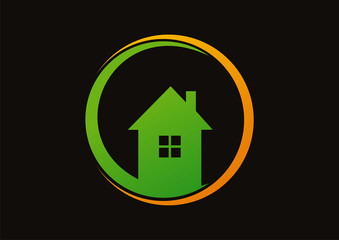Home green in orange circle