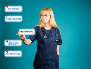 Doctor presenting healthy lifestyle concept on virtual screen.