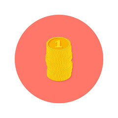 Gold Coins Money Circle Flat Icon