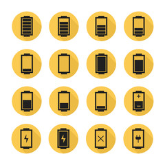 Battery web icons,symbol,sign in flat style with long shadow.