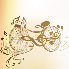 Art bicycle  from music notes