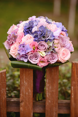 Beautiful wedding bouquet in the garden